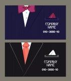 Cartes de visite professionnelle de visite avec le costume de l'homme sur le fond Illustration plate de vecteur Photo libre de droits