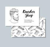 Cartes de visite professionnelle de visite tirées par la main de Barber Shop de vintage de vecteur Photo libre de droits