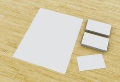 cartes de visite professionnelle du visite 3d et blocs-notes vides sur la table en bois illustration stock