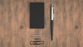Cartes de visite professionnelle de visite, trombones et stylo illustration libre de droits