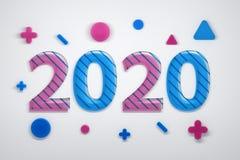 2020 cartes de voeux avec des formes géométriques illustration libre de droits