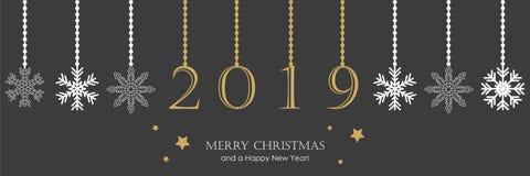 2019 cartes de voeux avec la frontière accrochante de Noël de décoration de flocon de neige illustration libre de droits