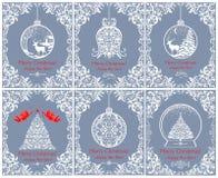 Cartes de voeux bleues en pastel de beau Noël de vintage avec l'arbre floral coupé de Noël, la cloche, la boule, les anges, les c Image stock