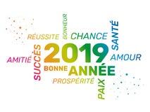 2019 cartes de voeux - bonne année - françaises illustration stock