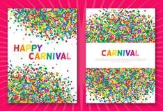 Cartes de voeux colorées de confettis de carnaval Photographie stock libre de droits