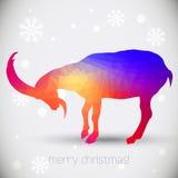 Cartes de voeux de Noël avec la chèvre, symbole d'année Images stock