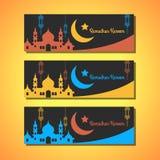 Cartes de voeux de noir de Ramadhan Kareem dans la version de trois couleurs Photo libre de droits
