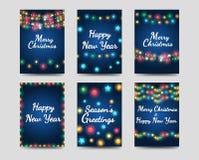 Cartes de voeux de nouvelle année et de Noël illustration stock