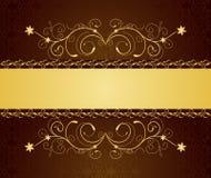 Cartes de voeux et invitation florales d'or Images libres de droits