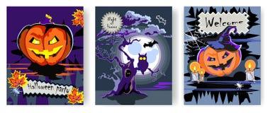 Cartes de voeux de Halloween réglées illustration stock