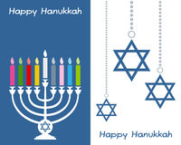 Cartes de voeux heureuses de Hanukkah Image libre de droits