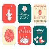 Cartes de voeux heureuses de Pâques réglées Photos stock
