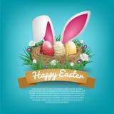 Cartes de voeux heureuses de jour de Pâques avec le nid d'oiseau et l'oreille de lapin Image stock