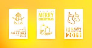 Cartes de voeux de Joyeux Noël et de bonne année avec le gradient illustration stock