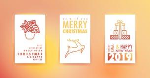 Cartes de voeux de Joyeux Noël et de bonne année avec le gradient illustration libre de droits