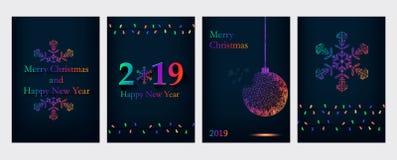 Cartes de voeux de Noël et de nouvelle année illustration stock