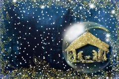 Cartes de voeux de Noël de scène de nativité illustration stock