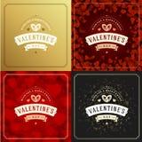 Cartes de voeux ou affiches heureuses de jour de valentines réglées Photos libres de droits
