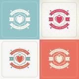 Cartes de voeux ou affiches heureuses de jour de valentines réglées Images stock