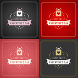 Cartes de voeux ou affiches heureuses de jour de valentines réglées Photographie stock