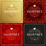 Cartes de voeux ou affiches heureuses de jour de valentines réglées Photos stock
