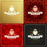 Cartes de voeux ou affiches heureuses de jour de valentines réglées Photographie stock libre de droits