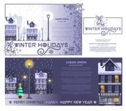 Cartes de voeux réglées pendant des vacances d'hiver Photo stock