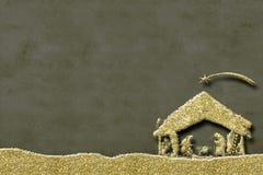Cartes de voeux de scène de nativité de Noël Image libre de droits