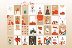 Cartes de voeux tirées par la main d'illustrations de bande dessinée de temps de Joyeux Noël d'amusement d'abrégé sur vecteur cal illustration de vecteur