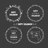Cartes de voeux tirées par la main d'invitation ou de Halloween Image stock