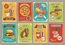 Cartes des prix de vecteur pour le restaurant de repas de prêt-à-manger Illustration Stock