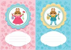 Cartões do bebê com coelhos Fotografia de Stock