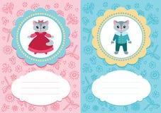 Cartões do bebê com gatinhos Foto de Stock Royalty Free