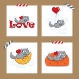 Cartões do dia de Valentim com gato Foto de Stock