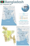 Cartes du Bangladesh avec des marqueurs Photos stock
