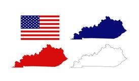 Cartes du Kentucky avec le drapeau des Etats-Unis - Commonwealth du Kentucky illustration stock