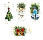 Cartes du ` s de nouvelle année Jouets fabriqués à la main Croquis d'aquarelle illustration de vecteur