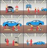 Cartes en liasse automatiques de service et de vecteur de couleur de garage de voiture illustration libre de droits