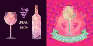 Cartes en liasse d'échantillon de vin, signe de raisin Photos libres de droits