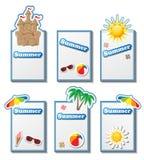 Cartes en liasse d'été avec des autocollants illustration de vecteur