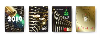 Cartes en liasse 2019 d'hiver de vacances de bonne année de Noël d'événement de décoration de luxe d'or illustration libre de droits
