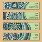 Cartes en liasse de bannière avec le fond décoratif coloré floral d'éléments de mandala illustration de vecteur