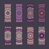 Cartes en liasse de bannière avec le fond décoratif coloré floral d'éléments de mandala Photo stock