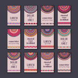 Cartes en liasse de bannières de vintage Mandala ornemental, éléments décoratifs de cercle ethnique Images stock