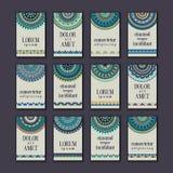 Cartes en liasse de bannières de vintage Mandala ornemental, éléments décoratifs de cercle ethnique illustration de vecteur