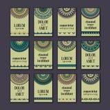 Cartes en liasse de bannières de vintage Mandala ornemental, éléments décoratifs de cercle ethnique illustration libre de droits