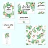 Cartes en liasse de calibre avec des palmettes d'aquarelle et des fleurs exotiques Photographie stock