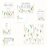 Cartes en liasse de calibre avec des wildflowers de rose de ressort d'aquarelle Photographie stock