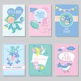 Cartes en liasse de fête de naissance pour le garçon pour l'it' de partie de joyeux anniversaire de fille Photo stock
