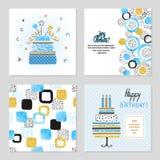 Cartes en liasse de joyeux anniversaire dans des couleurs bleues et d'or illustration stock